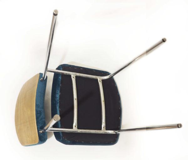 chaises retapissées canard velours lucinevintage