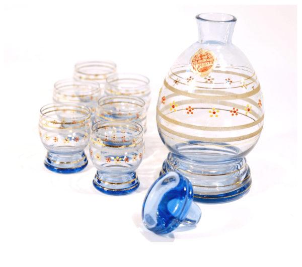 carafe bleue 6 verres émaillé lucinevintage
