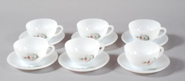 6 tasses blanches marguerite vintage