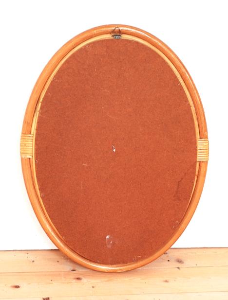 miroir ovale bambou 1980 vintage