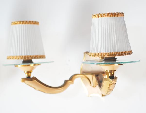 paire appliques années 40 dorées vintage
