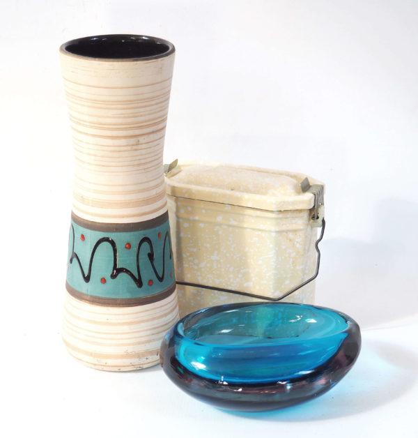 cendrier vide poche cristal bleu art deco
