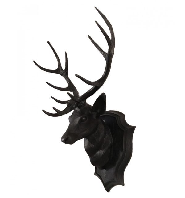 tête de cerf plastique noir vintage 70s