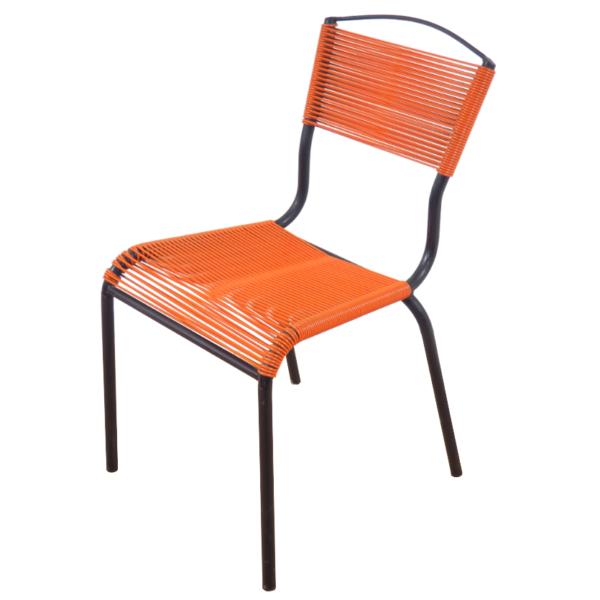 chaise scoubidou orange vintage