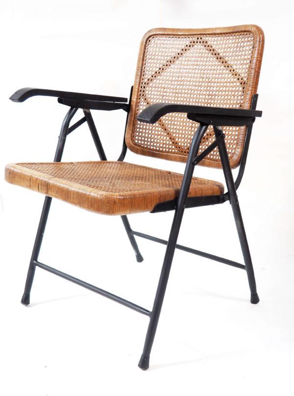 fauteuil pliant rotin lucinevintage
