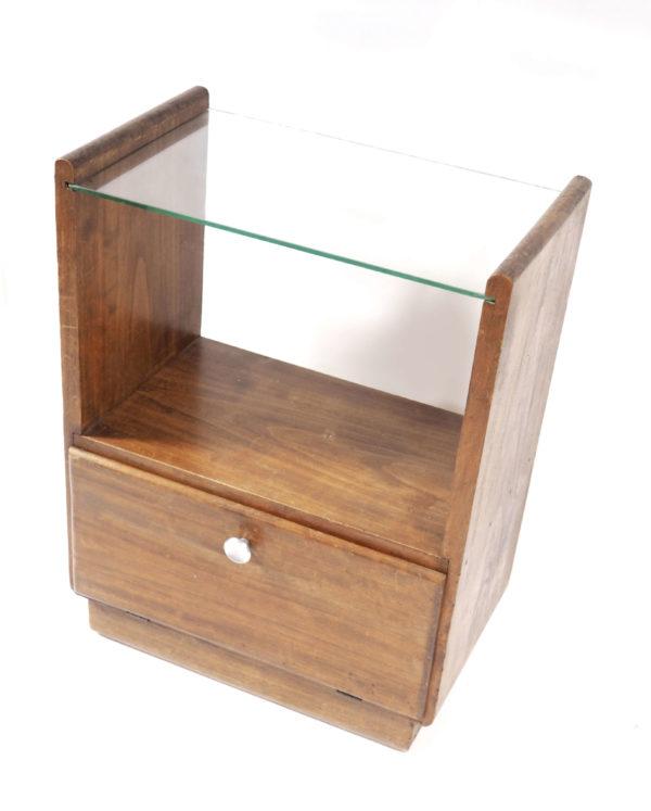 table de nuit années 30 bois verre vintage