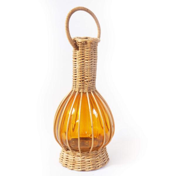 lampion verre ambre rotin vintage