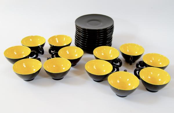 ensemble café noir et jaune vallauris lucinevintage