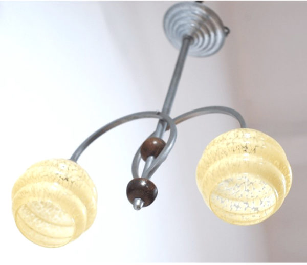 suspensions alu verrerie Clichy jaune vintage