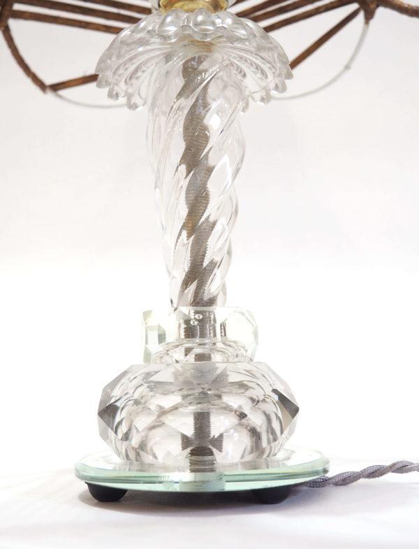 lampe rotin et cristal art déco vintage