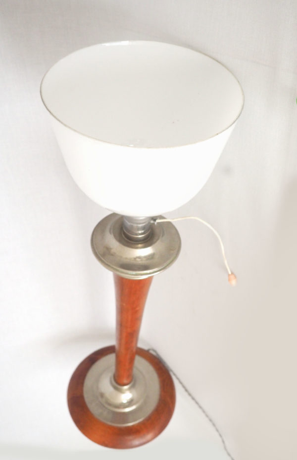 lampe Mazda opalin bois vintage