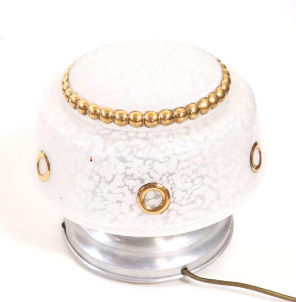 plafonnier verre de Clichy blanc et doré