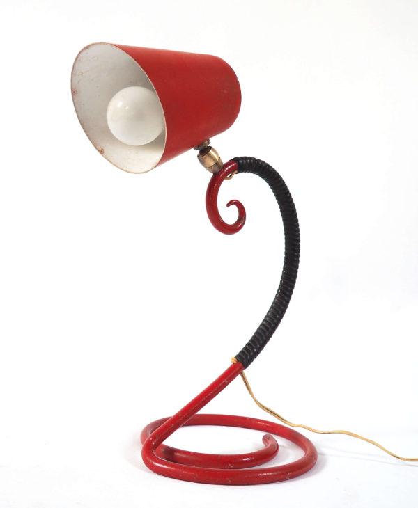 lampe vintage rouge scoubidou
