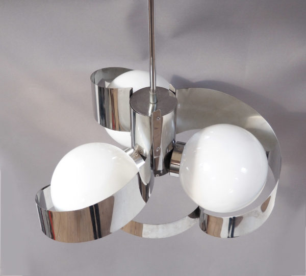 suspension lames chromées 3 boules vintage