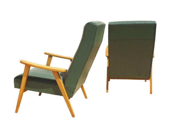 sièges pieds compas simili cuir vert bouteille années 60