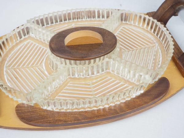 plat apéritif bois et verre lucinevintage