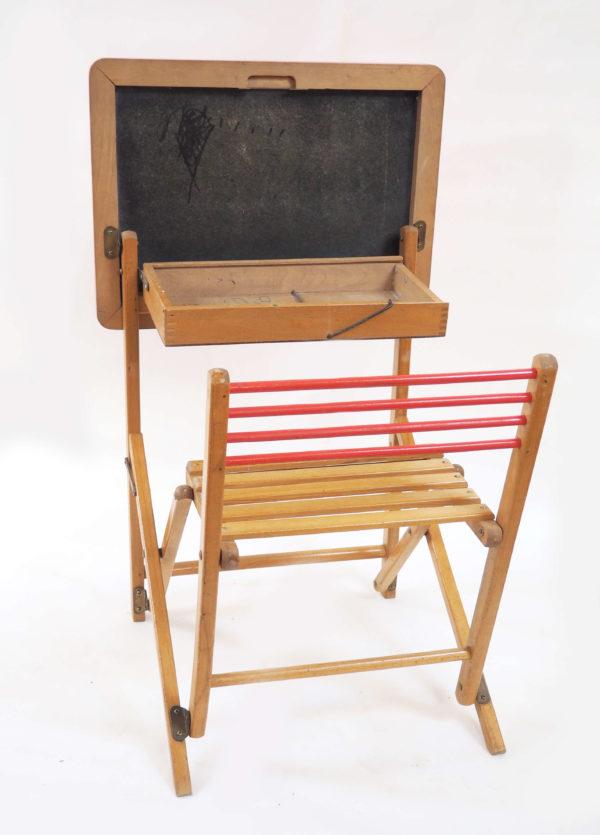 bureau écolier bois pliant vintage