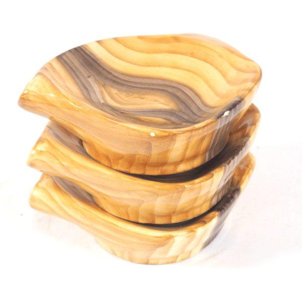 3 vide-poches imitation bois céramique lucinevintage