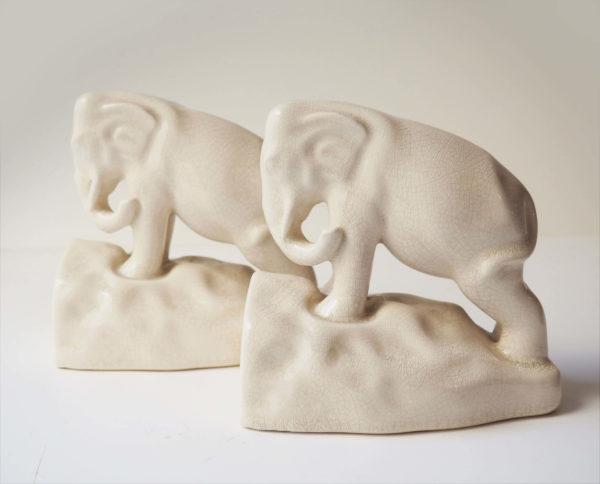 serre-livres elephants faïence craquelée art déco