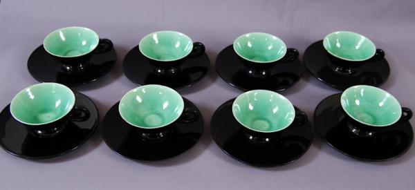 8 tasses cafe vallauris vert