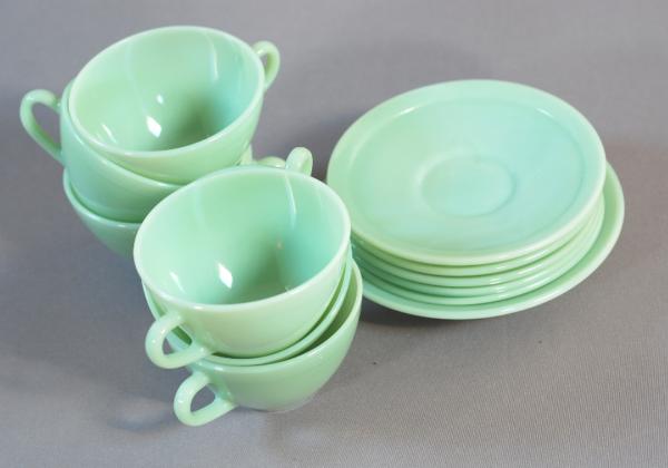 6 tasses celadon vintage