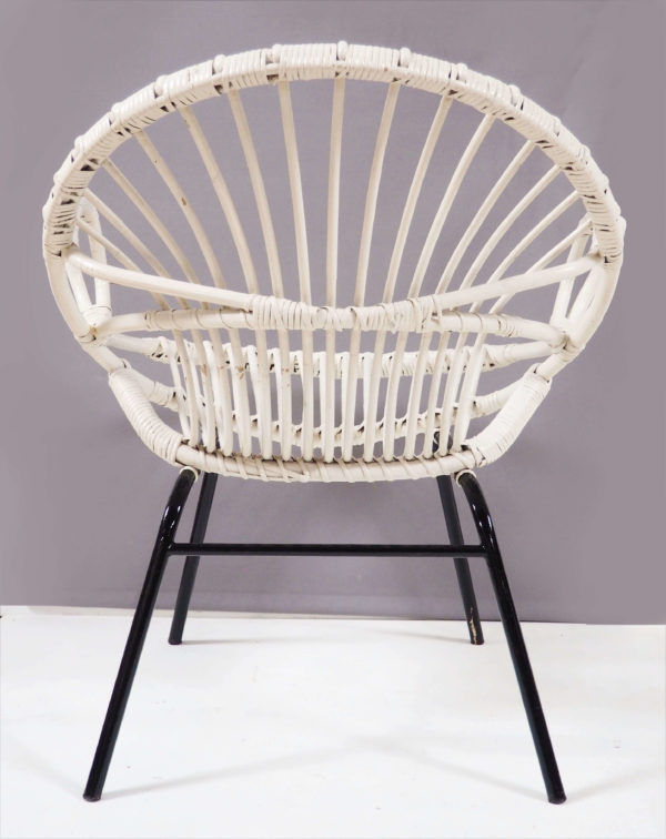 fauteuil pied fer rotin blanc vintage