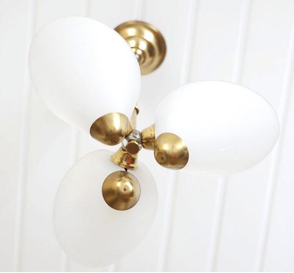 lustre trio cornet blanc laiton lucinevintage
