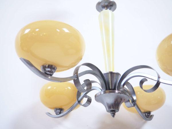 lustre alu années 40 4 coupes jaunes