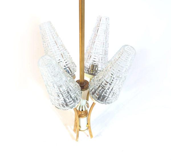 lustre laiton 4 flutes verre années 60