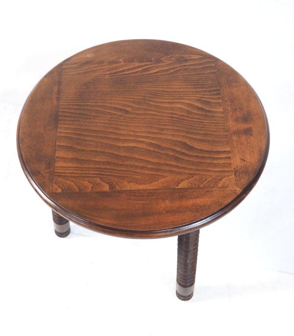table tripode bobine chêne vintage