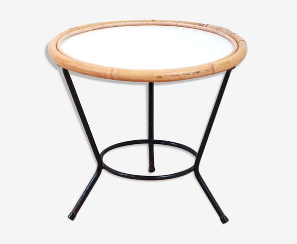 table ronde tripode rotin lucinevintage