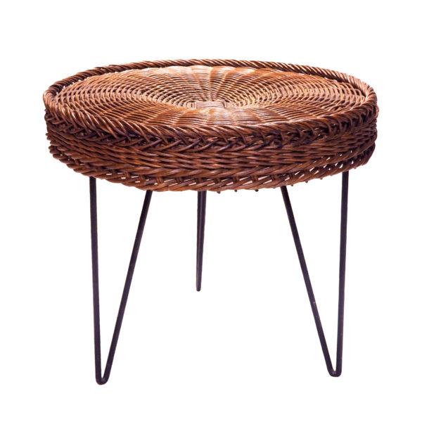 Table tripode rotin tresse vintage