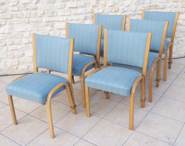 ensemble 6 chaises bois bleues 1948 lucinevintage