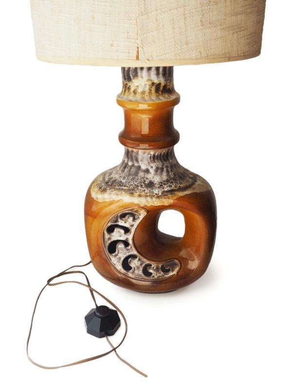 lampadaire céramique ajourée tweed vintage