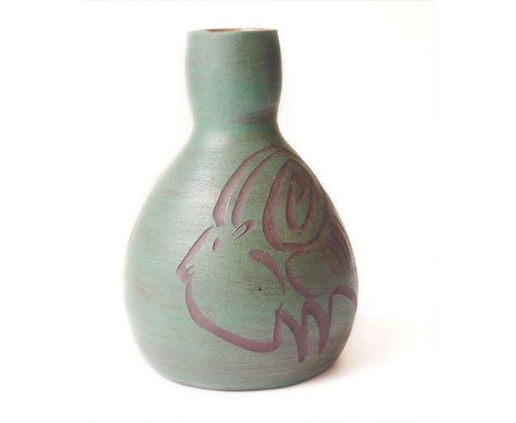 vase belier accolay vert vintage