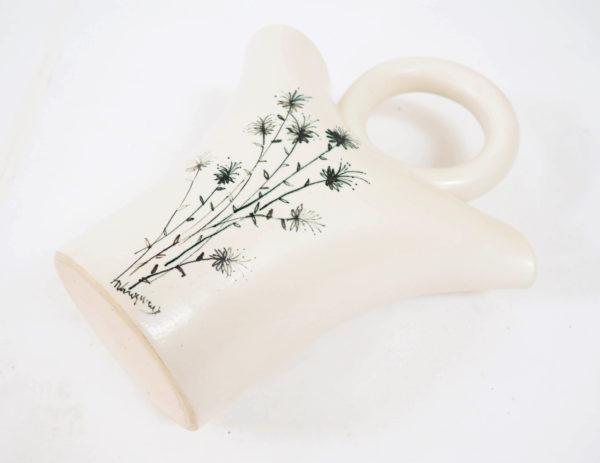 vase blanc poignée ronde 2 trous lucinevintage