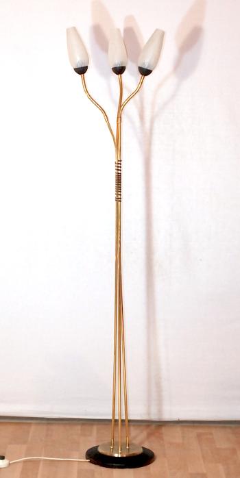 lampadaire triple années 50 doré vintage