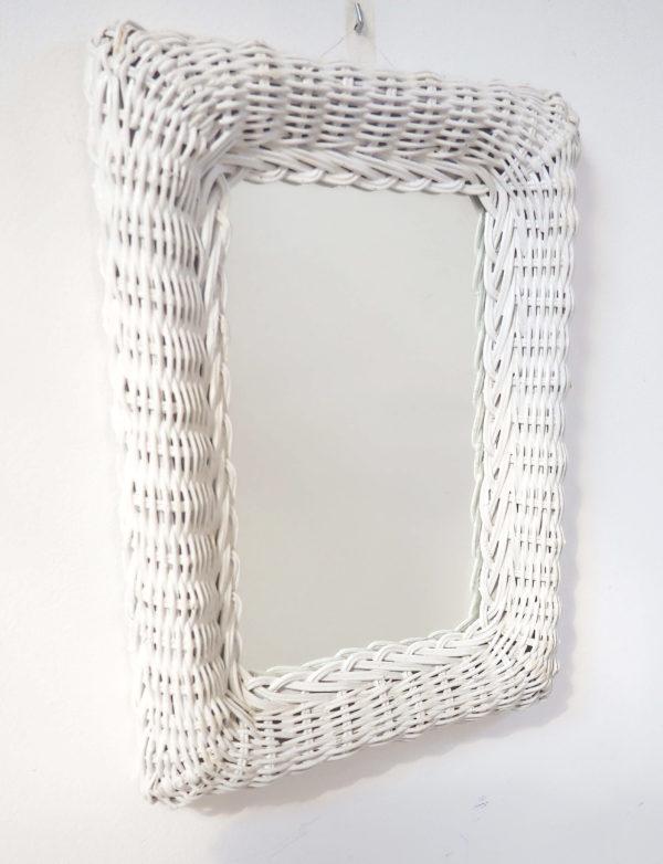 miroir années 80 blanc rotin lucinevintage