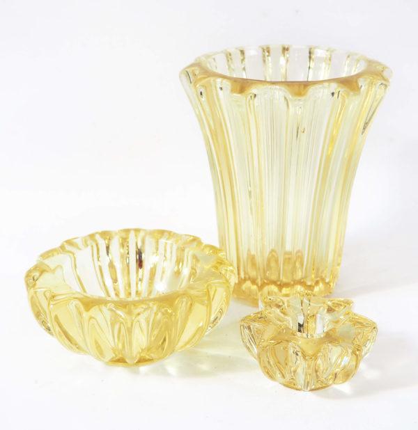 vase jaune cristal d'Avesn lucinevintage