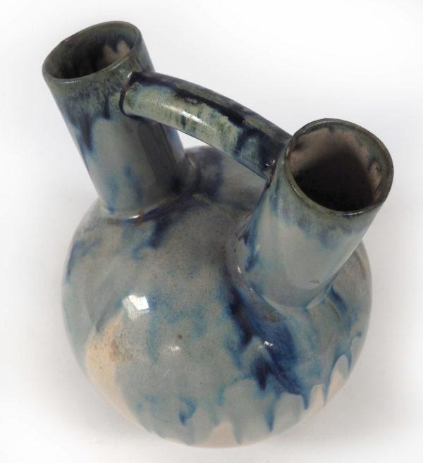 céramique double col beige bleu lucinevintage