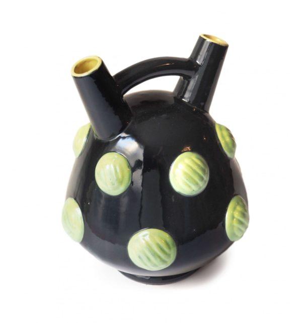 céramique blanche letalle noire pois verts vintage
