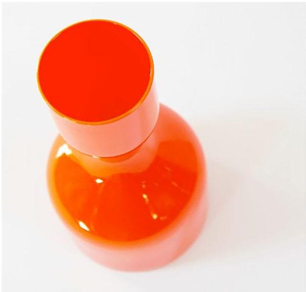 vase années 70 orange verre vintage