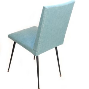 chaise retapissée bleue vintage 2
