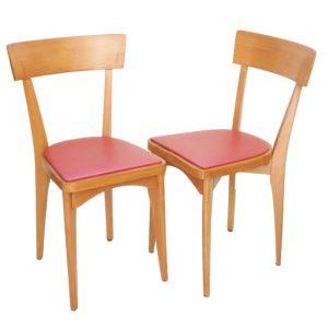 duo chaises bois Skaï rouge 1
